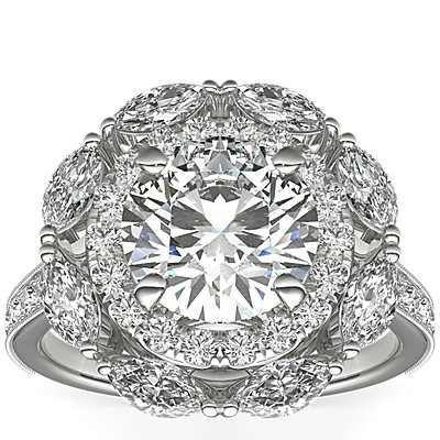 Monique Lhuillier Marquise Floral Halo Diamond Engagement Ring in Platinum